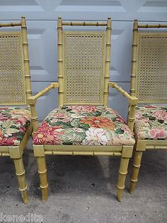 Tall Set 6 Dining Chairs Faux Bamboo Hollywood Regency Wicker Mid Century  Modern