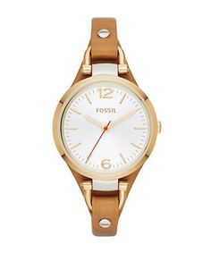 Fossil Georgia Leather Strap Watch Women's Gold