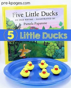 5 Little Ducks Activity. A super fun and easy activity to go along with the classic rhyme, 5 Little Ducks. Your preschool or kindergarten kids will love singing the rhyme and watching the ducks move around on the plate! Perfect for storytime!- Pre-K Pages