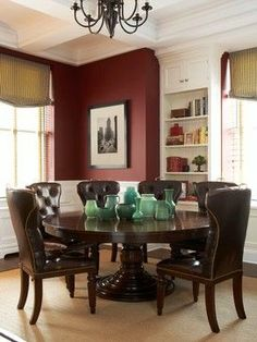 paint color is Benjamin Moore, Classic Burgandy accent wall in living area