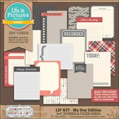 LIP KIT: My Guy Edition 3x4 Journal & Filler Cards for Project Life (Printable) #dad #father