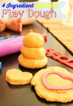 Have fun sensory play with this easy 4 ingredient edible play dough! That is right, you can eat it.. and it is yummy! Snack time combined with playtime!