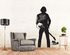 Springsteen Born to Run Wall Decal Sticker Decor ** Product Description  Decal is die-cut without background and will show the background where it is