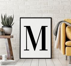 "Letter ""M"" Printable Art Poster, Alphabet M Wall Art, M Initial Wall Art, Nursery Letter, Printable Wall Art Decor *INSTANT DOWNLOAD* Initial Wall Art, Letter Wall Art, Printing Websites, Online Printing, Nursery Letters, Quote Prints, Print Pictures, Printable Wall Art, Wall Art Decor"