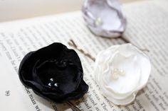 Fabric flower bobby pin set of 3, black, gray and white burnt edge bobby pin set, bridesmaid hair accessory. $12.00, via Etsy.