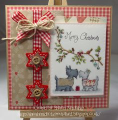 Little Claire Designs stamp - Merry Kissmass, Dovecraft papers.