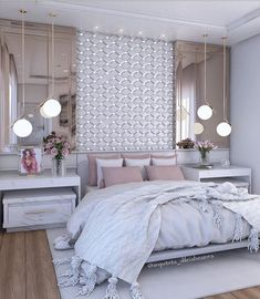 20 Decorated Feminine Bedroom Ideas to Get Inspired., 20 Decorated Feminine Bedroom Ideas to Get Inspired. Teen Bedroom Designs, Master Bedroom Design, Home Decor Bedroom, Interior Design Living Room, Bedroom Ideas, Luxury Bedroom Design, Luxury Decor, Closet Bedroom, Minimalistic Room