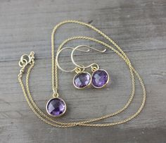 Amethyst Necklace and Earrings Set on 14k Gold Fill by true2u