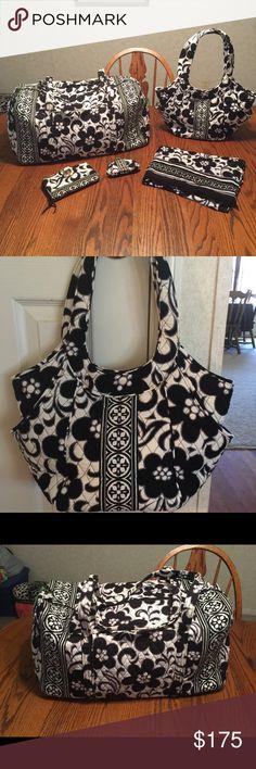 Vera Bradley Night and Day 🎈Price is Firm 🎈 Large Duffle Bag NWT...Glenna Handbag NWOT....Turn lock wallet & Scarf in Guc Vera Bradley Bags Travel Bags