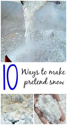 Make pretend snow with common household ingredients - great for play time, sensory bins and art. #snowcrafts, #winteractivitiesforkids from Blog Me Mom