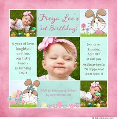 Pink Seafoam Green Bunny Rabbit Birthday Invitation