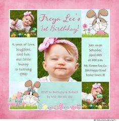 Pink Seafoam Green Bunny Rabbit Birthday Invitation