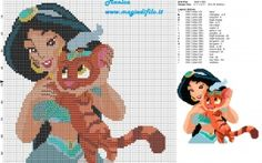 Jasmine con el tigre Sultan patrón punto de cruz