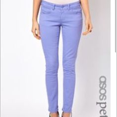 ASOS Lavender Skinny Jeans *Petite* Lavender Skinny Jeans by ASOS.  Perfect condition.  Worn once.  Petite inseam.  Measurements available upon request.     👍🏻👍🏻 Bundle and SAVE! 👍🏻👍🏻 🛍 10% off 2 or more items 🛍 🙅🏻🙅🏻 NO TRADES 🙅🏻🙅🏻 🚫🚫NO MODELING🚫🚫 ASOS Jeans Skinny