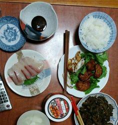 5月21日(木) 豚ヒレ 竹輪 苦瓜 鰤の刺身 キムチ 63.8