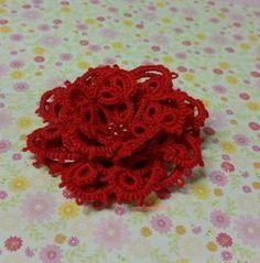 käpypitsiä neulalla ruusu - needle tatting 3D rose
