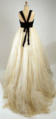 Black Velvet and Shimmery Tulle Evening Dress, 1957-1958