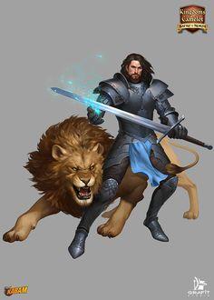 m Paladin Plate Armor Greatsword Lion mount Kabam by Grafit-art Fantasy Male, High Fantasy, Fantasy Warrior, Medieval Fantasy, Fantasy Portraits, Character Portraits, Fantasy Inspiration, Character Inspiration, Character Concept
