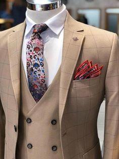 6a77e0ac2fe Herigate Slim-Fit Plaid Suit Camel – BOJONI  suitsfashion