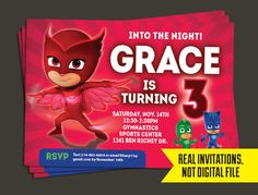 PJ Masks  PJ Masks Birthday  Owlette Invitation by 3rdStDesigns