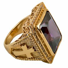 New Men's Clergy Bishop Ring Gold Plated/Sterling Silver, Christian Golden Jewelry, Silver Jewelry, Gold Jewellery, Silver Earrings, Bishop Ring, Men's Jewelry Rings, Silver Engagement Rings, Ring Engagement, Jewelry Making