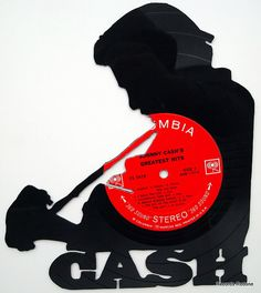 Johnny Cash Silhouette Hand Cut Vinyl Record by RecordsRedone, $50.00 Perfect for mom and dad!