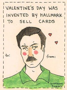 Parks And Recreation Valentineu0027s Day Card Featuring Ron Swanson