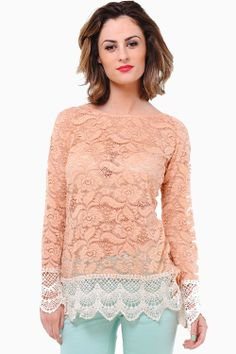 Turn heads in this ultra-pretty and feminine lace top. Looks great paired with skinny jeans and platform heels. - Crochet hem and cuffs - Open back - Sheer lace - Gold Button Detail at Back Sheer Lace Top, Blue Brown, My Wardrobe, Looks Great, Knitwear, Feminine, Tunic Tops, Skinny Jeans, Pretty