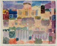 'Garden in St. Germain, the European Quarter near Tunis' (1914). Watercolour by Paul Klee (1879–1940).