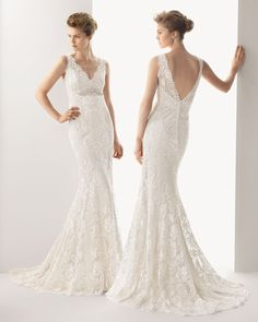 221 URBE | Wedding Dresses | 2014 Soft Collection | Rosa Clara | Shown with Beaded embellishment below Bust (front & back)
