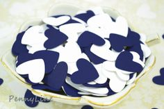 Nautical Wedding Heart Confetti Reception Decor Table by PennyLine  Navy Blue, white, die cut, hearts