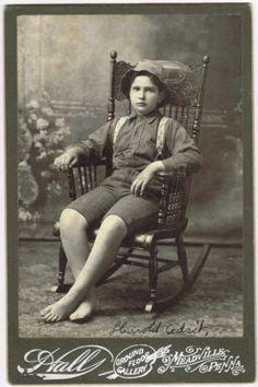 William Harold Adsit Barefoot in Rocker Meadville Pennsylvania by Hall 1900'S | eBay