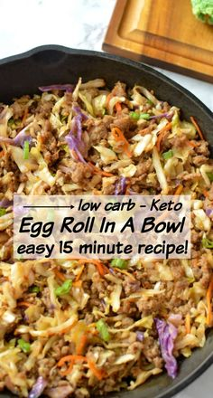 Egg Roll In A Bowl an easy 15 minute low carb recipe that taste just like your favorite egg roll! Egg Roll In A Bowl an easy 15 minute low carb recipe that taste just like your favorite egg roll! Egg Roll In A Bowl an easy 15 minute low carb recipe tha Cena Keto, Comida Keto, Healthy Meals, Healthy Recipes, Lunch Recipes, Carb Free Recipes, Low Carb Dinner Recipes, Health Food Recipes, Low Carb Recipes
