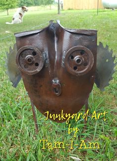 Scrap metal art - owl Shovel, pullies, and saw blade