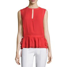 Tory Burch Tie-Waist Sleeveless Shell featuring polyvore, women's fashion, clothing, tops, spark, red sparkly tank top, sparkly tank top, shell tank top, sparkly tops and sleeveless tank