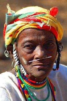 Africa |  Portrait of an elderly Bedik woman with porcupine coil through her nose, Senegal | © Alessia de Marco