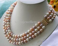 Wholesale Pearl Necklace - Buy New Arrive 3Rows AA 9-10MM Multicolor Round Freshwater Cultured Pearl Necklace 14K-20 Gold Clasp, $85.23 | DHgate