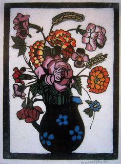 , Flowers in a Jug Woodblock print, Margaret Preston , Flowers in a Jug Woodblock print, Margaret Preston. Margaret Preston, Margaret Rose, Australian Painters, Australian Artists, Aboriginal Artists, Arts And Crafts Movement, Pin Up Art, Art Auction, Woodblock Print