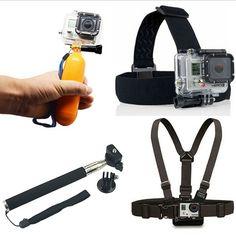 Go pro Monopod Tripod Mount Adapter + Float Bobber Handheld Stick + Chest Belt + Head Strap For all Gopro Hero4 3+ 3 2 SJ4000