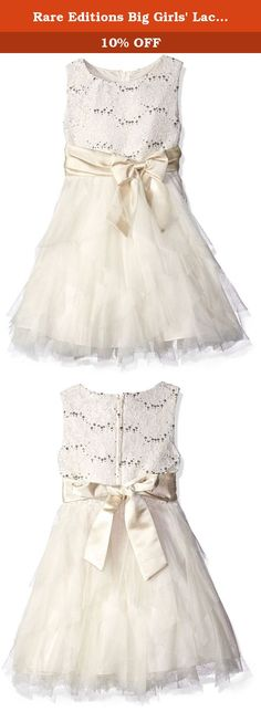 Rare Editions Big Girls' Lace Bodice to Cascade Social Dress, Ivory/Gold, 8. Ivory and gold lace bodice to cascade skirt dress with waist bow detail.