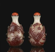 A red glass overlay snuff bottle. Likely Palace Workshops, Beijing 1720-1770