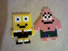 SpongeBob and Patrick hama beads by Melty Bead Patterns, Perler Patterns, Beading Patterns, Perler Bead Mario, Pokemon Perler Beads, Minecraft, Cross Stitch Silhouette, Pony Bead Crafts, Art Perle