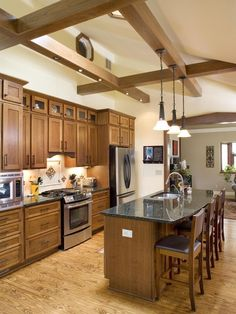 Arts And Crafts Kitchen Cabinets Design. Like the cabinet style not so much the color.