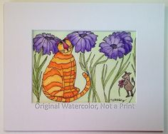 Watercolor of Cat, Cat Tails #3, Whimsical Fat Orange Cat with Purple Daisies and Forward Mouse, 5x7 in 8x10 Mat, Not a Print