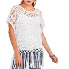 CLEARANCE SALE‼️NOBO JRS Poncho See Sizes Add this No Boundaries Juniors Fringed Poncho to your seasonal wardrobe. This poncho is perfect for the spring and summer season, easy to wear over tanks and dresses. It is sheer and features a bottom hem fringe. Available in Several Juniors sizes NOT SOLD WITH TANKTOP. Completely see through. No Boundaries Sweaters Shrugs & Ponchos