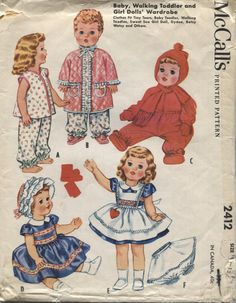 Vintage McCalls 2412 : Circa 1960 Uncut Besty Wetsy Plus other Doll Clothes