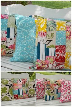 Indoor / Outdoor Pillow Cover  Patch Work by InFullBloomCo on Etsy, $56.00