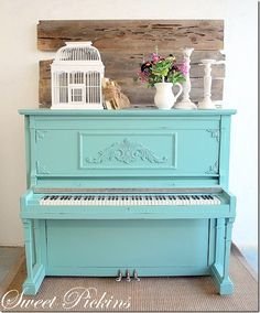 "Painted Pianos that will Make You Say, ""Where's My Paintbrush?"" Tiffany Blue piano--Make this a baby grand and it would be in my house.Tiffany Blue piano--Make this a baby grand and it would be in my house. The Piano, Piano Bar, Piano Keys, Grand Piano, Painted Pianos, Painted Furniture, Turquoise Furniture, Turquoise Room, Refinished Furniture"