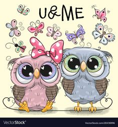 Two Owls on a hearts background. Two cute Cartoon Owls and butterflies on a hearts background vector illustration Cartoon Elephant, Owl Cartoon, Cute Cartoon, Cartoon Owl Drawing, Kids Cartoon Characters, Owl Vector, Paper Owls, Heart Background, Happy Paintings