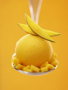 Mango Sorbet with Fresh Fruit on a Spoon Photographic Print by Marc O. Finley at Art.com